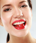 Woman sucking  candy — Foto de Stock