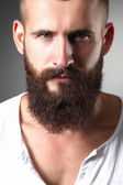 Portrait of handsome bearded man standing, isolated on grey background — Stockfoto