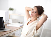 Thinking office worker day dreaming looking up smiling — Stock Photo