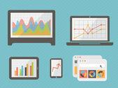 Infografica: grafici, grafici e diagrammi su monitor di computer. illustrazione vettoriale — Vettoriale Stock