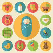 Baby goods vector icons set — Stock Vector