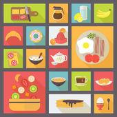Breakfast icons vector set — Stock Vector