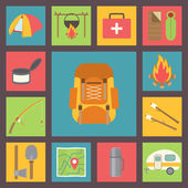Camping vector icons set — Stock Vector
