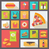 Fast food vector icons set — Stock Vector