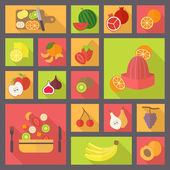 Fruits and vegetarian food icons set. — Stock Vector