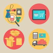 Internet shopping concept, flat design vector icons. — Stock Vector