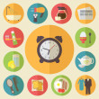 Morning time, morning occupation icons set. Flat design vector. — Stockvektor  #49370869