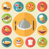 Food icons set for cooking, restaurant, fast food and menu. Flat design vector. — Stock Vector