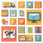 Internet shopping, e-commerce concept. Icons set with long shadows. — Stock Vector