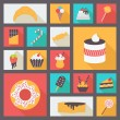 Set of various sweets for restaurant and menu. Flat design vector icons. — Stock Vector