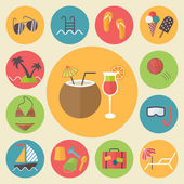 Summer and vacation icons set, flat design vector illustration. — Stock Vector