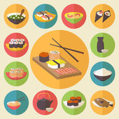 Sushi, Japanese cuisine, food icons set, flat design vector. — Stock Vector