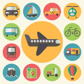 Transportation icons set, flat design vector. — Stock Vector