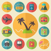 Travel, tourism and vacation icons set, flat design vector. — Stock Vector
