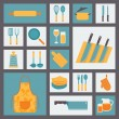 Kitchen and cooking icons set, kitchenware and utensils icons, food vector illustration for restaurants, cafe and culinary blog in flat design. — Stock Vector #49450289