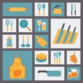 Kitchen and cooking icons set, kitchenware and utensils icons, food vector illustration for restaurants, cafe and culinary blog in flat design. — Vecteur
