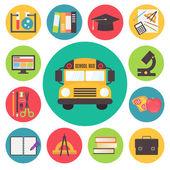 Terug naar school vector bus en leveringen icons set, platte ontwerp illustratie. — Stockvector