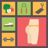 Fitness, sport equipment, caring figure, diet icons set. Nutrition, running trainer, shoes, jumping rope, dumbbells and buttocks. Flat vector. — Stock Vector