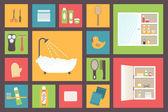 Bath supplies, hygiene accessories, cosmetics, hair care etc. Flat design vector icons set. — Vector de stock
