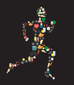 Running man silhouette filled with sport icons. Vector illustration on white background. — Stock Vector