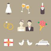 Wedding icons set — Stock Vector
