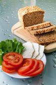 Pain, tomates et fromage — Foto de Stock