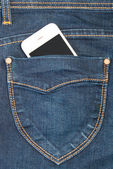 Cellulare in jeans tasche — Foto Stock