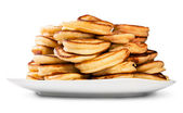 Pile Of Pancakes On A White Plate — Stockfoto