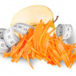 Half An Apple With Grated Carrots And Sewing Measuring — Stock Photo #49541203