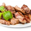 Grilled Meat On A White Plate Served With Mint Leaf — Stock Photo #50262151