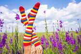 Funny woman leg in flower field and cloudy sky — Stock Photo