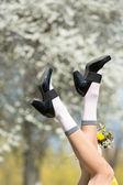 Happy woman legs — Stock Photo