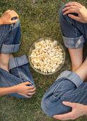 Popcorn family — Stock Photo