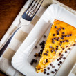 Slice of pears cake with chocolate drops - Stock Image — Stock Photo #41689775