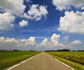 Asphalt road through the green field and clouds on blue sky — Stock fotografie