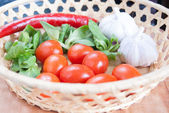 Tomatoes, garlic, chili pepper and greens — Stock Photo