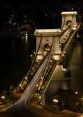 Night shot of the Chain Bridge, Budapest, Hungary — Stock Photo