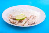 Chicken with rice and lemon on plate — Photo