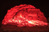 Red live coals in the hearth furnace — Foto de Stock