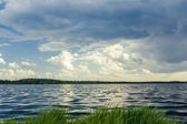 Forest lake before stormy rain — Stock Photo