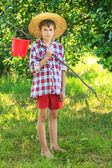 Portrait of barefooted boy on fishing — Stock Photo