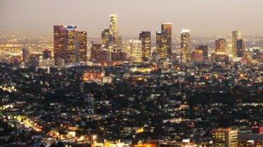 Downtown Los Angeles Skyline Twilight — Stock Video