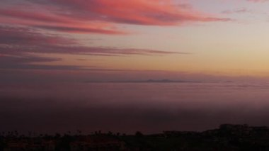 Sunset Afterglow and Coastal Fog — Stock Video