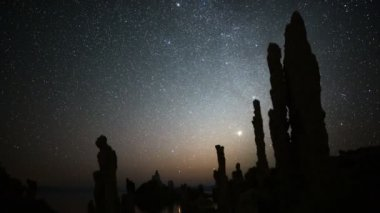 Starry Sky above Tufa Formation in Mono Lake — Stock Video