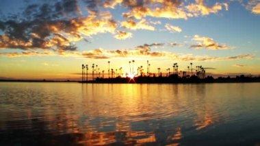 Sunset over Lagoon Island — Stock Video