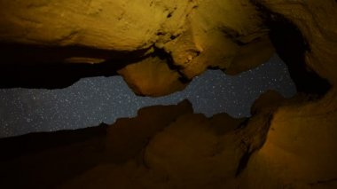 Keyhole Cave and Stars — Stock Video