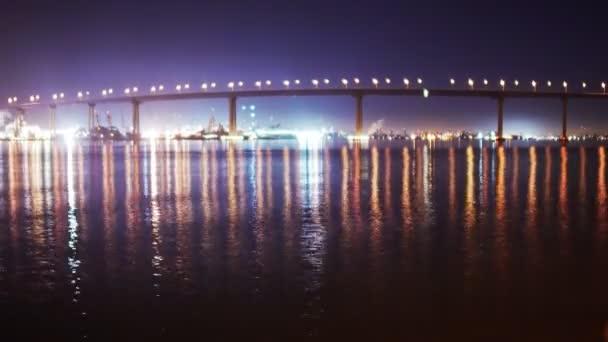 Puente de coronado en la noche. — Vídeo de stock