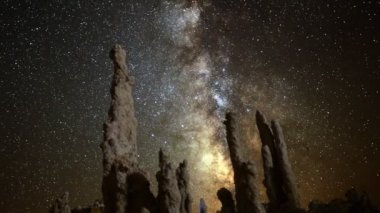Milkyway & Tufa Formation in Mono Lake — Stock Video
