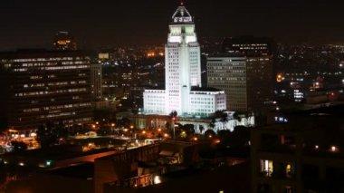 Los Angeles City Hall at Night — Stock Video