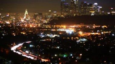 Downtown LA Night Skyline — Stock Video